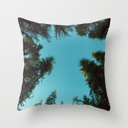 Turquoise Forest Sky Pacific Northwest Woods - Nature Photography Throw Pillow