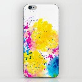 Blue Yellow Abstract Watercolor Neon Pink Splatter iPhone Skin