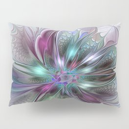 Colorful Fantasy Abstract Modern Fractal Flower Pillow Sham