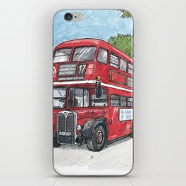 red bus in davis iPhone Skin
