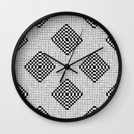 Black & White Grid Tile Pattern Wall Clock