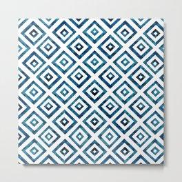 Indigo Squares Metal Print
