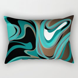 Liquify - Brown, Turquoise, Teal, Black, White Rectangular Pillow