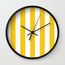 Deep lemon yellow - solid color - white vertical lines pattern Wall Clock