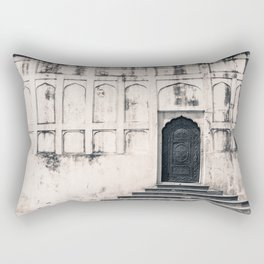 Mughal Indian Black and White Architecture in Red Fort, New Delhi Rectangular Pillow
