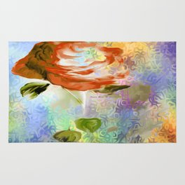 Red Rose With Psychedelic Background By Annie Zeno Rug