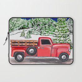Old Red Farm Truck Winter Laptop Sleeve