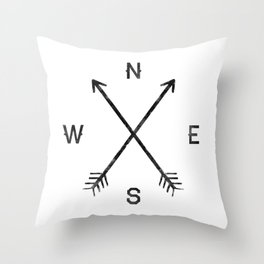 Compass (White) Throw Pillow