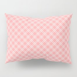 Back to School - Simple Diagonal Grid Pattern - White & Coral - Mix & Match with Simplicity of Life Pillow Sham