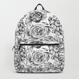 White flowers Backpack