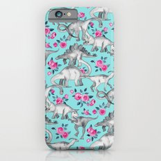 Dinosaurs and Roses - turquoise blue Slim Case iPhone 6s