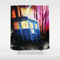 dr who Shower Curtains featuring dr who by shannon's art space