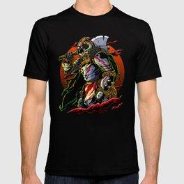Samurai Viking   Warrior Ronin Berserk Armor Axe T-shirt
