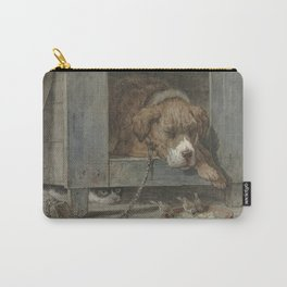 Henriette Ronner - Cat Spies On Birds With A Sleeping Dog Carry-All Pouch