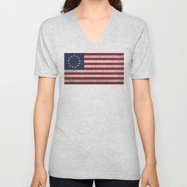USA Betsy Ross flag - Vintage Retro Style Unisex V-Neck