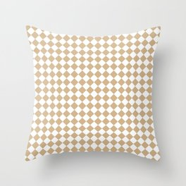 Small Diamonds - White and Tan Brown Throw Pillow
