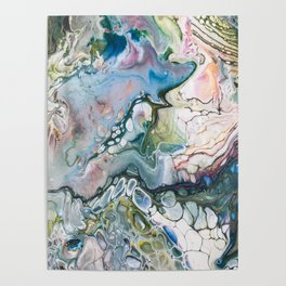 Sea and Land Acrylic Abstract Painting Poster