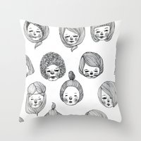 girls Throw Pillows featuring Girls by Young Ju