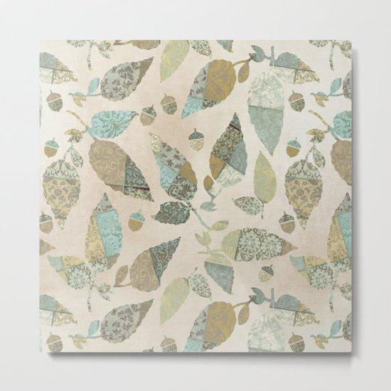 Nostalgic Patchwork Autumn Leaf Pattern Teal Beige Metal Print