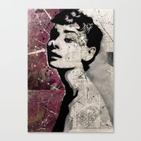 audrey Canvas Prints featuring Audrey by f_e_l_i_x_x