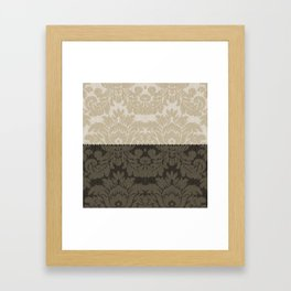 Brown and Tan Faux Linen Damask Framed Art Print