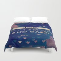 i love you to the moon and back Duvet Covers featuring I Love You to the Moon and Back by Olivia Joy StClaire