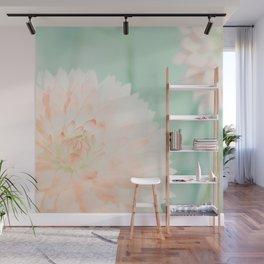 Peach Dahlias Wall Mural