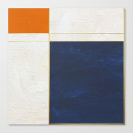 Orange, Blue And White With Golden Lines Abstract Painting Canvas Print