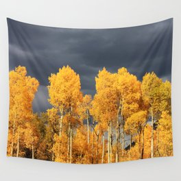 Golden Aspens and an Impending Storm Wall Tapestry