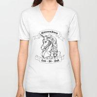 skyrim V-neck T-shirts featuring Skyrim Parody - Unicorn Born LAA DI DAH by MagicCircle