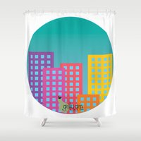 metropolis Shower Curtains featuring Metropolis by Gellygen Creative