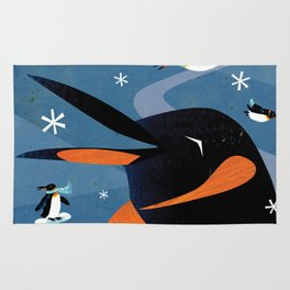 Penguins in the Snow, Holiday Rug