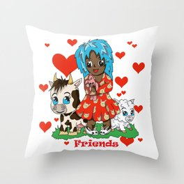 Farmyard friends with red text Throw Pillow
