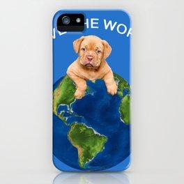 Save the world Bordeaux bulldog with Globus iPhone Case