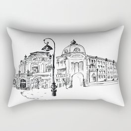 drawing pencil. the city central street, a streetlight on a front background. beginning of the 19th Rectangular Pillow