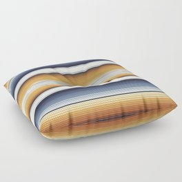 Indigo Blue, Amber Brown and Navajo White Southwest Serape Blanket Stripes Floor Pillow