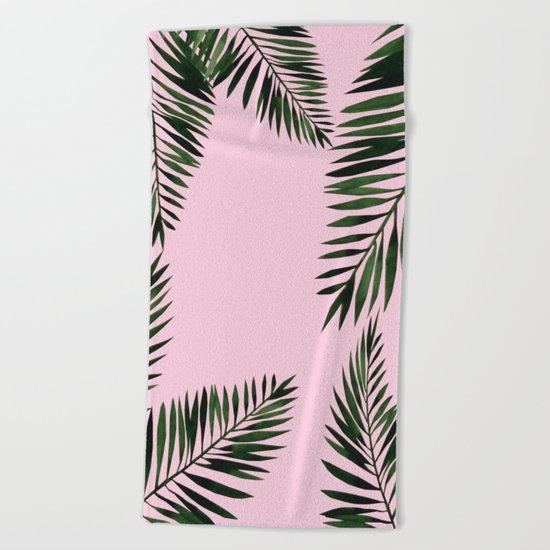 Watercolor tropical palm leaves pink Beach Towel
