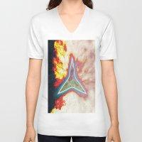 big bang V-neck T-shirts featuring Big Bang by Helle Gade