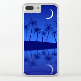Blue Island Starry Sky Clear iPhone Case