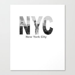 New York City Skyline Black and White Cutout Casual Pullover Hoodie Canvas Print