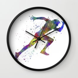 Man running sprinting jogging Wall Clock