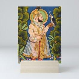Maharana Jawan Singh in a forest holding a hawk - Vintage Indian Art Print Mini Art Print