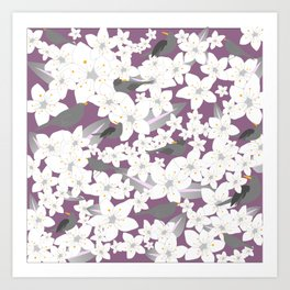 Flowers and birds on the purple background Art Print