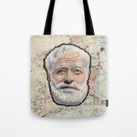hemingway Tote Bags featuring Ernest Hemingway by steam