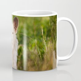 Single white stray tyke dog at the meadow Coffee Mug