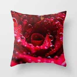 Raindrops on a Deep Red Rose in Bloom Throw Pillow