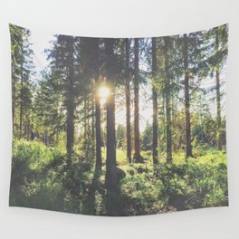 sunlight through the forest trees Wall Tapestry