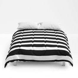 Wide Horizontal Stripe: Black and White Comforters