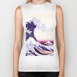 The Great wave purple fuchsia Biker Tank