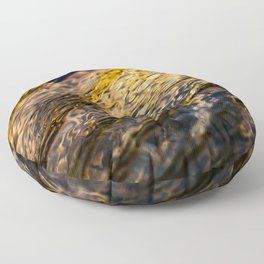 River Ripples in Yellow Gold and Brown Floor Pillow